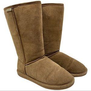 BearPaw Emma Tall Suede Sheepskin Wool Boots